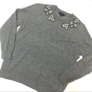 J.Crew Embellished Grey Crewneck Sweater Sz S